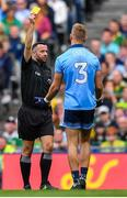 1 September 2019; Jonny Cooper of Dublin is issued a yellow card by referee David Gough during the GAA Football All-Ireland Senior Championship Final match between Dublin and Kerry at Croke Park in Dublin. Photo by Brendan Moran/Sportsfile