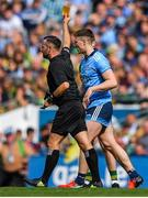 1 September 2019; John Small of Dublin is issued a yellow card by referee David Gough during the GAA Football All-Ireland Senior Championship Final match between Dublin and Kerry at Croke Park in Dublin. Photo by Brendan Moran/Sportsfile