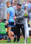 1 September 2019; Dublin manager Jim Gavin shakes hands with Jonny Cooper of Dublin after he is issued a red card by referee David Gough during the GAA Football All-Ireland Senior Championship Final match between Dublin and Kerry at Croke Park in Dublin. Photo by Brendan Moran/Sportsfile