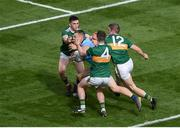 1 September 2019; Con O'Callaghan of Dublin in action against Kerry players, left to right, Paul Murphy, Tom O'Sullivan, and Stephen O'Brien during the GAA Football All-Ireland Senior Championship Final match between Dublin and Kerry at Croke Park in Dublin. Photo by Daire Brennan/Sportsfile