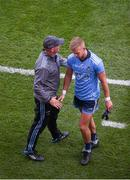 1 September 2019; Dublin manager Jim Gavin shakes hands with Jonny Cooper of Dublin, after Cooper was sent off during the GAA Football All-Ireland Senior Championship Final match between Dublin and Kerry at Croke Park in Dublin. Photo by Daire Brennan/Sportsfile