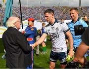 1 September 2019; President Michael D. Higgins shakes hands with Stephen Cluxton of Dublin during the GAA Football All-Ireland Senior Championship Final match between Dublin and Kerry at Croke Park in Dublin. Photo by Seb Daly/Sportsfile