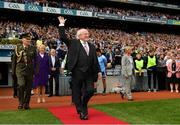 1 September 2019; President Michael D. Higgins acknowledges the crowd before the GAA Football All-Ireland Senior Championship Final match between Dublin and Kerry at Croke Park in Dublin. Photo by Seb Daly/Sportsfile