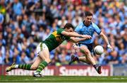 1 September 2019; David Moran of Kerry in action against Michael Darragh Macauley of Dublin during the GAA Football All-Ireland Senior Championship Final match between Dublin and Kerry at Croke Park in Dublin. Photo by Harry Murphy/Sportsfile
