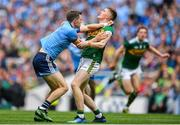 1 September 2019; Dean Rock of Dublin in action against Jason Foley of Kerry during the GAA Football All-Ireland Senior Championship Final match between Dublin and Kerry at Croke Park in Dublin. Photo by Brendan Moran/Sportsfile