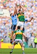 1 September 2019; David Moran of Kerry catches a mark ahead of Brian Howard and Michael Darragh Macauley of Dublin during the GAA Football All-Ireland Senior Championship Final match between Dublin and Kerry at Croke Park in Dublin. Photo by Brendan Moran/Sportsfile