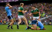 1 September 2019; Killian Spillane of Kerry is congratulated by team-mate Paul Geaney after scoring his side's first goal during the GAA Football All-Ireland Senior Championship Final match between Dublin and Kerry at Croke Park in Dublin. Photo by Seb Daly/Sportsfile