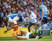 1 September 2019; Paddy Small of Dublin is tackled by Gavin Crowley of Kerry during the GAA Football All-Ireland Senior Championship Final match between Dublin and Kerry at Croke Park in Dublin. Photo by Ramsey Cardy/Sportsfile