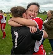 1 September 2019; Emma O'Brien of TEK United with Nadine Kenny following the FAI Women's Intermediate Cup Final match between Wilton United and TEK United at St Kevin's FC, Newhill Park in Two Mile Borris, Tipperary. Photo by Michael P Ryan/Sportsfile