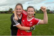 1 September 2019; Emma O'Brien and Claire Murphy of TEK United celebrate following the FAI Women's Intermediate Cup Final match between Wilton United and TEK United at St Kevin's FC, Newhill Park in Two Mile Borris, Tipperary. Photo by Michael P Ryan/Sportsfile