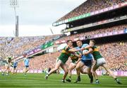 1 September 2019; Con O'Callaghan of Dublin in action against Jason Foley of Kerry, right and Tom O'Sullivan of Kerry, left,  during the GAA Football All-Ireland Senior Championship Final match between Dublin and Kerry at Croke Park in Dublin. Photo by David Fitzgerald/Sportsfile