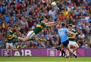 1 September 2019; Diarmuid Connolly of Dublin attempts to kick a point under pressure from Paul Geaney of Kerry during the GAA Football All-Ireland Senior Championship Final match between Dublin and Kerry at Croke Park in Dublin. Photo by Seb Daly/Sportsfile