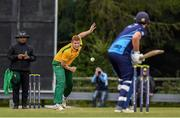 1 September 2019; Kevin O'Brien of Railway Union bowling to Jared Wilson of Ardmore during the Clear Currency National Cup Final match between Ardmore and Railway Union at North County Cricket Club in Balbriggan, Co. Dublin. Photo by Matt Browne/Sportsfile
