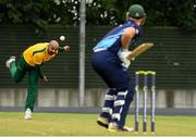 1 September 2019; Hashir Sultan of Railway Union boles to Peet Pienaar of Ardmore during the Clear Currency National Cup Final match between Ardmore and Railway Union at North County Cricket Club in Balbriggan, Co. Dublin. Photo by Matt Browne/Sportsfile
