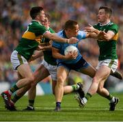 1 September 2019; Con O'Callaghan of Dublin is tackled by Paul Murphy of Kerry, left, and Tom O'Sullivan of Kerry, right, during the GAA Football All-Ireland Senior Championship Final match between Dublin and Kerry at Croke Park in Dublin. Photo by Eóin Noonan/Sportsfile