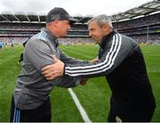 1 September 2019; Dublin manager Jim Gavin, right, and Kerry manager Peter Keane shake hands after a draw in the GAA Football All-Ireland Senior Championship Final match between Dublin and Kerry at Croke Park in Dublin. Photo by Seb Daly/Sportsfile