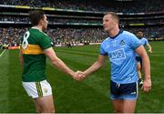 1 September 2019; Ciarán Kilkenny of Dublin shakes hands with David Moran of Kerry during the GAA Football All-Ireland Senior Championship Final match between Dublin and Kerry at Croke Park in Dublin. Photo by Ramsey Cardy/Sportsfile
