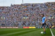 1 September 2019; Supporters on Hill 16 look on as Dean Rock of Dublin prepares to take a free in injury-time of the second half, which he kicked wide, during the GAA Football All-Ireland Senior Championship Final match between Dublin and Kerry at Croke Park in Dublin. Photo by Piaras Ó Mídheach/Sportsfile