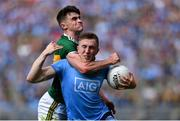 1 September 2019; Paddy Small of Dublin is fouled by Seán O'Shea of Kerry, for which referee David Gough awarded a free to Dublin for, and Dean Rock of Dublin kicked wide, in injury-time of the second-half during the GAA Football All-Ireland Senior Championship Final match between Dublin and Kerry at Croke Park in Dublin. Photo by Piaras Ó Mídheach/Sportsfile