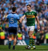 1 September 2019; David Moran of Kerry shakes hands with Jack McCaffrey of Dublin following the final whistle at the GAA Football All-Ireland Senior Championship Final match between Dublin and Kerry at Croke Park in Dublin. Photo by Harry Murphy/Sportsfile