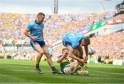 1 September 2019; Paddy Small of Dublin is tackled by Gavin Crowley of Kerry during the GAA Football All-Ireland Senior Championship Final match between Dublin and Kerry at Croke Park in Dublin. Photo by David Fitzgerald/Sportsfile