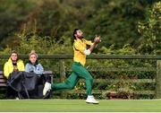 1 September 2019; Digamber Mishra of Railway Union takes a catch from Jared Wilson of Ardmore during the Clear Currency National Cup Final match between Ardmore and Railway Union at North County Cricket Club in Balbriggan, Co. Dublin. Photo by Matt Browne/Sportsfile
