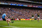 1 September 2019; Dean Rock of Dublin kicks an injury time free, which went wide, during the GAA Football All-Ireland Senior Championship Final match between Dublin and Kerry at Croke Park in Dublin. Photo by Stephen McCarthy/Sportsfile