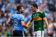 1 September 2019; David Moran of Kerry shakes hands with Jack McCaffrey of Dublin following the GAA Football All-Ireland Senior Championship Final match between Dublin and Kerry at Croke Park in Dublin. Photo by Harry Murphy/Sportsfile