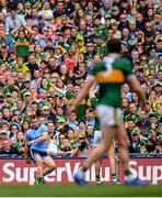 1 September 2019; Dean Rock of Dublin kicks a free with the last kick of the game during the GAA Football All-Ireland Senior Championship Final match between Dublin and Kerry at Croke Park in Dublin. Photo by Brendan Moran/Sportsfile