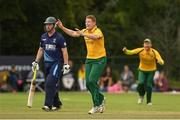 1 September 2019; Kevin O'Brien of Railway Union celebrates taking the wicket of Mark Chambers  of Ardmore during the Clear Currency National Cup Final match between Ardmore and Railway Union at North County Cricket Club in Balbriggan, Co. Dublin. Photo by Matt Browne/Sportsfile