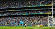 1 September 2019; Jack McCaffrey of Dublin turns to celebrate with team mate Paul Mannion after shooting past Kerry full back Tadhg Morley and goalkeeper Shane Ryan to score his side's goal during the GAA Football All-Ireland Senior Championship Final match between Dublin and Kerry at Croke Park in Dublin.  Photo by Ray McManus/Sportsfile