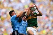 1 September 2019; David Moran of Kerry wins a kick-out ahead of Michael Darragh Macauley and Brian Howard of Dublin during the GAA Football All-Ireland Senior Championship Final match between Dublin and Kerry at Croke Park in Dublin. Photo by Harry Murphy/Sportsfile