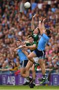 1 September 2019; Brian Howard, left, and Dean Rock of Dublin, right, challenge for a high ball against Jack Barry and Gavin White of Kerry during the GAA Football All-Ireland Senior Championship Final match between Dublin and Kerry at Croke Park in Dublin. Photo by Seb Daly/Sportsfile