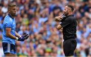 1 September 2019; Referee David Gough explains his decision to award a penalty to Kerry for a foul by Jonny Cooper of Dublin, left, on David Clifford of Kerry, during the GAA Football All-Ireland Senior Championship Final match between Dublin and Kerry at Croke Park in Dublin. Photo by Piaras Ó Mídheach/Sportsfile