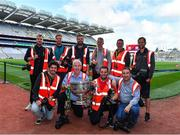 1 September 2019; Sportsfile photographers, back row, from left, David Fitzgerald, Daire Brennan, Stephen McCarthy, Eóin Noonan, Ramsey Cardy, and Seb Daly, with front, from left, Harry Murphy, Ray McManus, Piaras Ó Mídheach and Brendan Moran with the Sam Maguire Cup prior to the GAA Football All-Ireland Senior Championship Final match between Dublin and Kerry at Croke Park in Dublin. Photo by Brendan Moran/Sportsfile