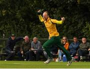 1 September 2019; Kenny Carroll of Railway Union celebrates after he took the winning catch during the Clear Currency National Cup Final match between Ardmore and Railway Union at North County Cricket Club in Balbriggan, Co. Dublin. Photo by Matt Browne/Sportsfile