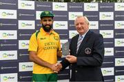 1 September 2019; Hashir Sultan of Railway Union is presented with the man of the match trophy by Joey Mooney from North County Cricket Club after the Clear Currency National Cup Final match between Ardmore and Railway Union at North County Cricket Club in Balbriggan, Co. Dublin. Photo by Matt Browne/Sportsfile