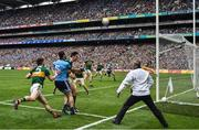 1 September 2019; Jack McCaffrey of Dublin scores a point watched by Kerry players, from left, Paul Murphy, David Moran and Shane Ryan of Kerry during the GAA Football All-Ireland Senior Championship Final match between Dublin and Kerry at Croke Park in Dublin. Photo by Brendan Moran/Sportsfile