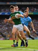 1 September 2019; Seán O'Shea of Kerry in action against Brian Fenton of Dublin during the GAA Football All-Ireland Senior Championship Final match between Dublin and Kerry at Croke Park in Dublin. Photo by Seb Daly/Sportsfile