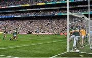 1 September 2019; Players from both sides and supporters watch a last second free kick by Dean Rock of Dublin during during the GAA Football All-Ireland Senior Championship Final match between Dublin and Kerry at Croke Park in Dublin. Photo by Brendan Moran/Sportsfile