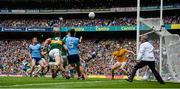 1 September 2019; Jack McCaffrey of Dublin scores a point watched by Kerry players, from left, Paul Murphy, David Moran and Shane Ryan of Kerry during during the GAA Football All-Ireland Senior Championship Final match between Dublin and Kerry at Croke Park in Dublin. Photo by Brendan Moran/Sportsfile