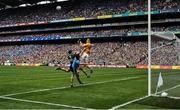 1 September 2019; Shane Ryan of Kerry punches clear of team-mate Tadhg Morley and Cormac Costello of Dublin during the GAA Football All-Ireland Senior Championship Final match between Dublin and Kerry at Croke Park in Dublin. Photo by Brendan Moran/Sportsfile