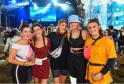 1 September 2019; Festival-goers, from left, Aoife Walsh, Megan O'Reilly, Kate Fawl, Joanna Fox and Ailbhe Curran from Galway in attendance at the Electric Ireland Throwback Stage during day three of Electric Picnic 2019 at Stradbally in Laois. Smash Hits deliver a smashing performance at Electric Ireland's Throwback Stage. It's 90s time at Electric Ireland's Throwback Stage as Smash Hits bring a smooth mix of nostalgic numbers to Stradbally. Closing out a weekend of throwback fun at Electric Ireland's Throwback Stage – Smash Hits pave the way for the final headline act, N-Trance. This year, Electric Ireland's Throwback Stage hosts a line-up of legends including headliners Bonnie Tyler, N-Trance, Mr. Motivator and Lords of Strut. One of the most popular stages at the festival, Electric Ireland's Throwback Stage has previously played host to pop legends B*witched, Johnny Logan, Heather Small, 5ive, S Club Party, Ace of Base, 2 Unlimited, The Vengaboys and Bananarama – to name a few. Share in the nostalgia of the Electric Ireland Throwback Stage, visit: www.twitter.com/ElectricIreland, www.facebook.com/ElectricIreland, www.instagram.com/ElectricIreland.  #ThrowbackThrowdown. Photo by Sam Barnes/Sportsfile
