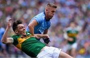 1 September 2019; Jonny Cooper of Dublin pulls down David Clifford of Kerry before being shown his first yellow card by referee David Gough during the GAA Football All-Ireland Senior Championship Final match between Dublin and Kerry at Croke Park in Dublin. Photo by Piaras Ó Mídheach/Sportsfile