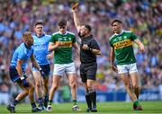 1 September 2019; Referee David Gough shows a second yellow card to Jonny Cooper of Dublin, before showing him the red card, during the GAA Football All-Ireland Senior Championship Final match between Dublin and Kerry at Croke Park in Dublin. Photo by Piaras Ó Mídheach/Sportsfile