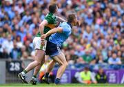 1 September 2019; Con O'Callaghan of Dublin and Tom O'Sullivan of Kerry tussle, before Dublin were awarded a free by referee David Gough in the 47th minute, and O'Sullivan was shown a yellow card, during the GAA Football All-Ireland Senior Championship Final match between Dublin and Kerry at Croke Park in Dublin. Photo by Piaras Ó Mídheach/Sportsfile