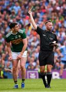 1 September 2019; Paul Geaney of Kerry receives a yellow card from referee David Gough during the GAA Football All-Ireland Senior Championship Final match between Dublin and Kerry at Croke Park in Dublin. Photo by Stephen McCarthy/Sportsfile