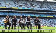 1 September 2019; Kilshannig Scór group performing at half time during the Electric Ireland GAA Football All-Ireland Minor Championship Final match between Cork and Galway at Croke Park in Dublin. Photo by Eóin Noonan/Sportsfile