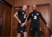 2 September 2019; James McClean, left, and Darren Randolph arrive for a Republic of Ireland press conference at the FAI National Training Centre in Abbotstown, Dublin. Photo by Stephen McCarthy/Sportsfile