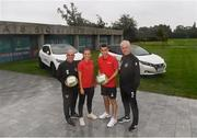 2 September 2019; In attendance during the launch of the FAI and Nissan Sponsorship at FAI Headquarters in Abbotstown, Dublin, are, from left, Republic of Ireland Women's interim manager Tom O'Connor, captains Katie McCabe and Seamus Coleman, and Republic of Ireland manager Mick McCarthy. Photo by Ramsey Cardy/Sportsfile